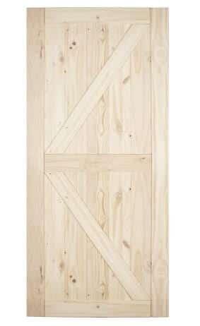 BELLEZE Knotty Pine Unfinished Single Sliding Barn Wood Door