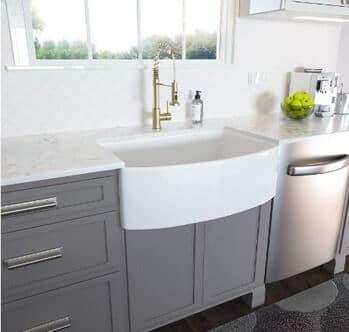 Lordear LAWH3019R1 30 inch Fireclay White Farmhouse Kitchen Sink